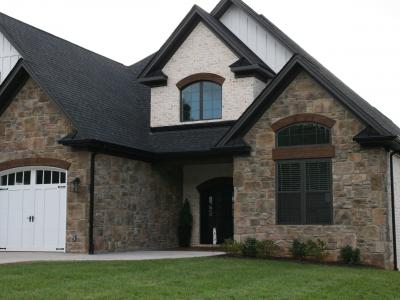 Stone veneer application on new home